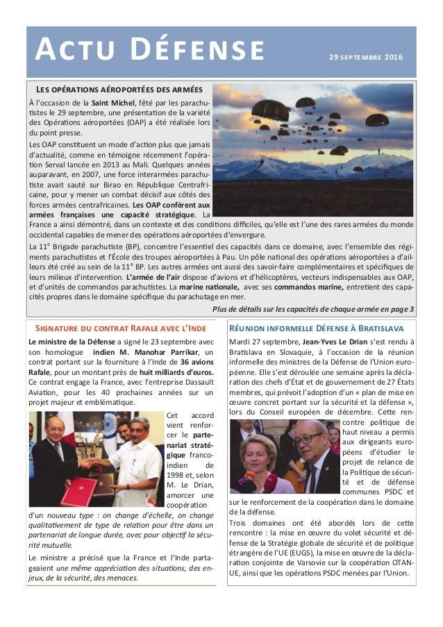Actu Défense 29 septembre 2016 Signature du contrat Rafale avec l'Inde Le ministre de la Défense a signé le 23 septembre a...