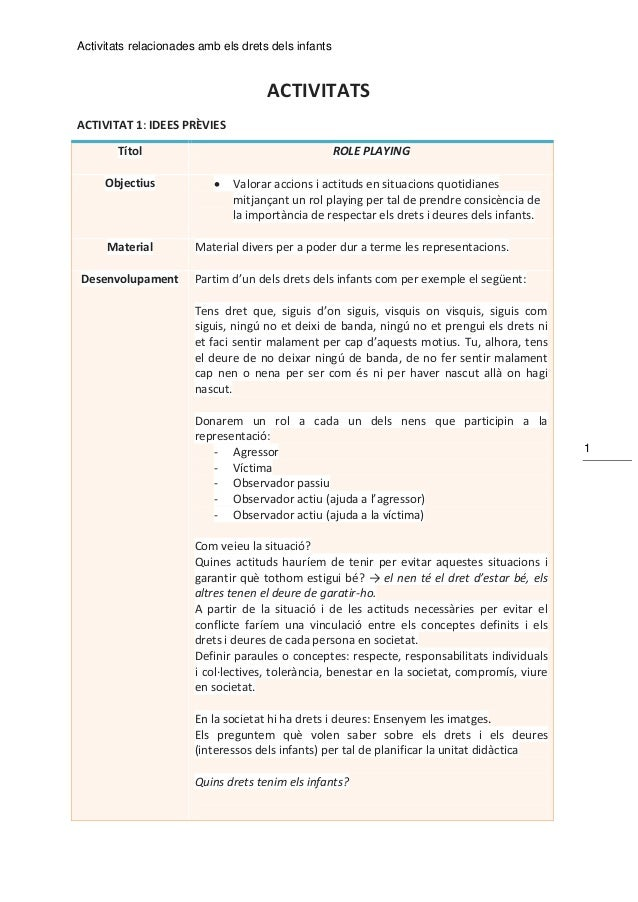 Activitats relacionades amb els drets dels infants 1 ACTIVITATS ACTIVITAT 1: IDEES PRÈVIES Títol ROLE PLAYING Objectius  ...