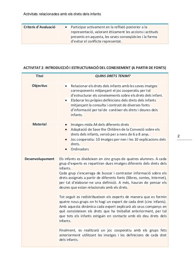Activitats relacionades amb els drets dels infants 2 Criteris d'Avaluació  Participar activament en la reflixió posterior...