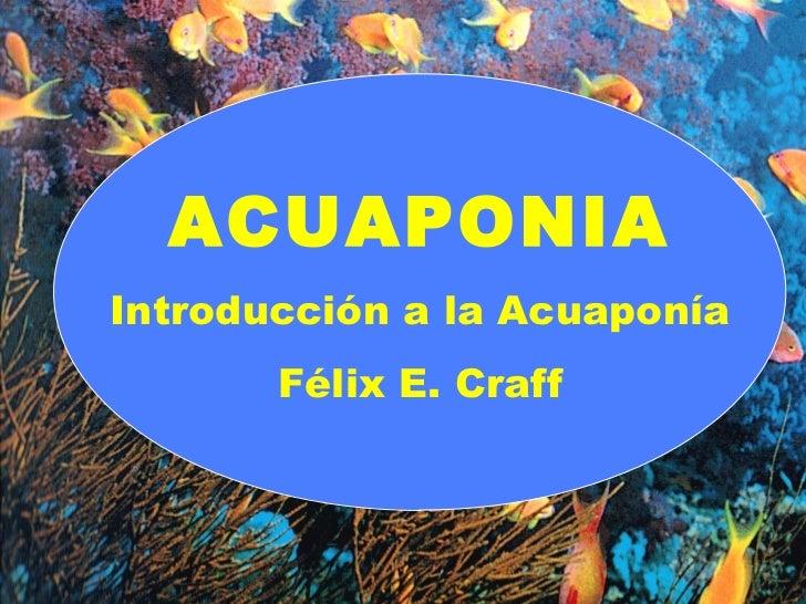 ACUAPONIA Introducción a la Acuaponía Félix E. Craff