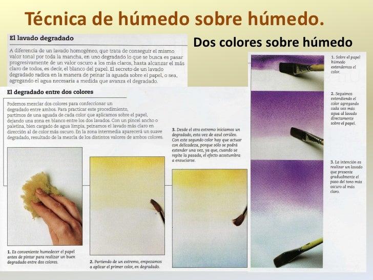 Técnica de húmedo sobre húmedo.                 Dos colores sobre húmedo