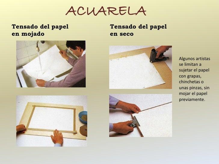 ACUARELATensado del papel   Tensado del papelen mojado           en seco                                        Algunos ar...