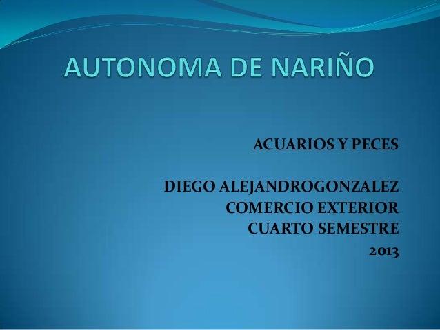 ACUARIOS Y PECES  DIEGO ALEJANDROGONZALEZ COMERCIO EXTERIOR CUARTO SEMESTRE 2013