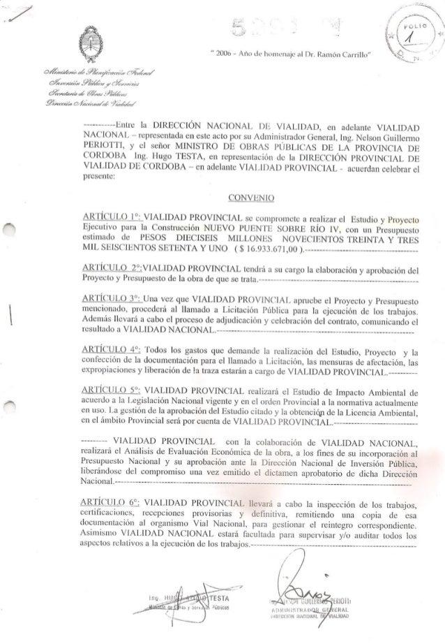 Acuerdo de la Provincia con Vialidad Nacional por el puente del Bicentenario en Río Cuarto