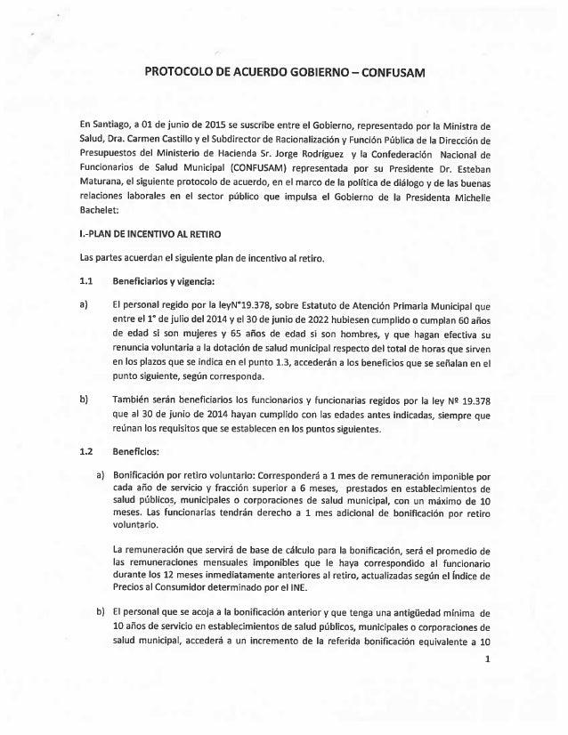 PROTOCOLO DE ACUERDO GOBIERNO - CONFUSAM  En Santiago,  a 01 de junio de 2015 se suscribe entre el Gobierno,  representado...
