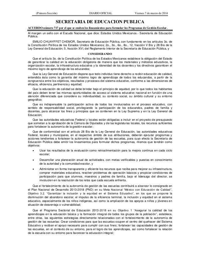 (Primera Sección) DIARIO OFICIAL Viernes 7 de marzo de 2014 SECRETARIA DE EDUCACION PUBLICA ACUERDO número 717 por el que ...
