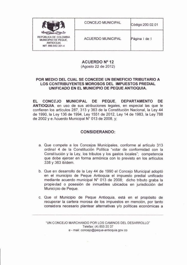 CONCEJO MUNICIPAL                                                         lódigo:200.02.01  REPüBLGq DE COLOMBIA          ...