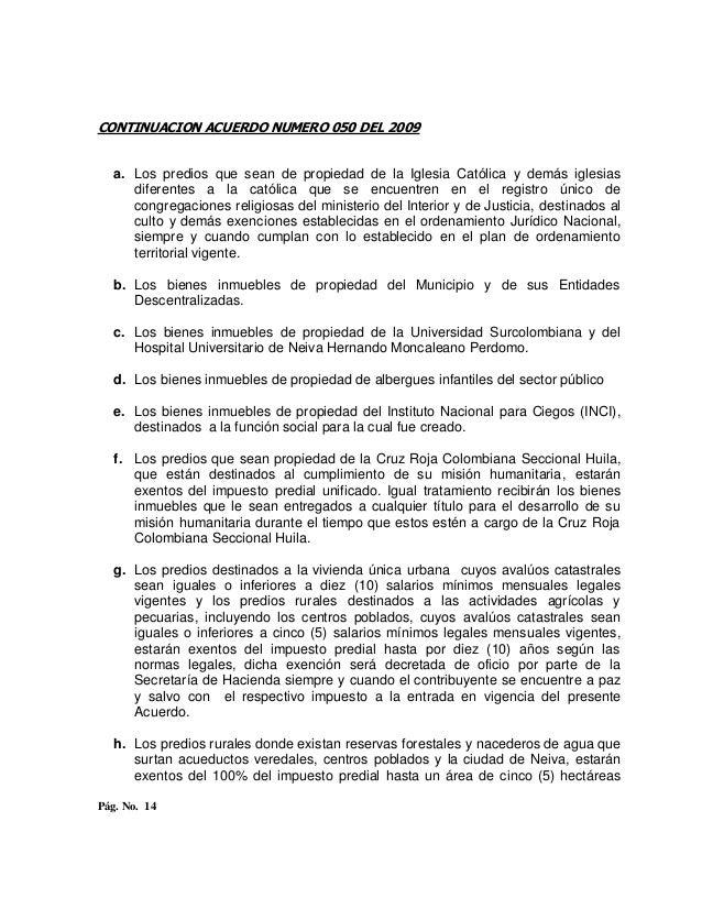 Acuerdo numero 050 del 29 de noviembre de 2009 1 Numero del ministerio del interior