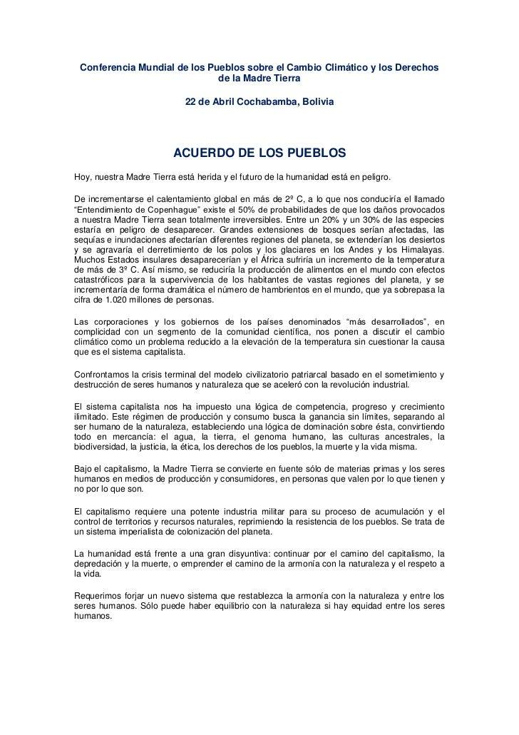 Conferencia Mundial de los Pueblos sobre el Cambio Climático y los Derechos                              de la Madre Tierr...