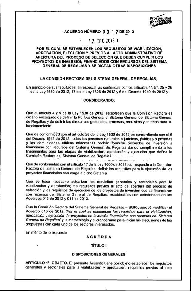 ¡{roádrgg  ACUERDO NÚMERO o o 1 7 DE 2013  l 12 mczma»  POR EL CUAL SE ESTABLECEN LOS REQUISITOS DE VIABILIZACIÓN,  APROBA...
