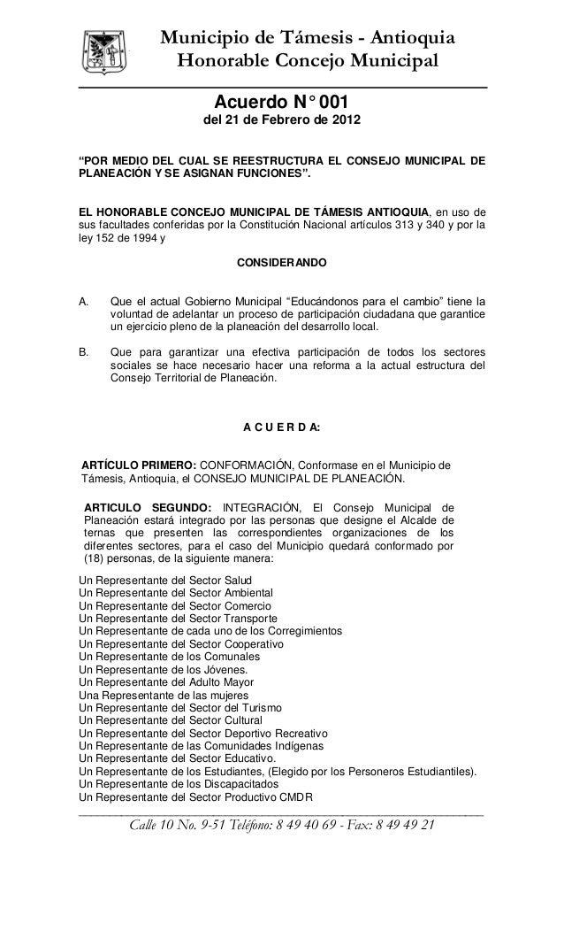 ______________                  Municipio de Támesis - Antioquia                   Honorable Concejo Municipal            ...