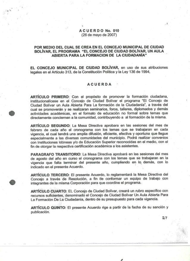 Acuerdo 010 2007