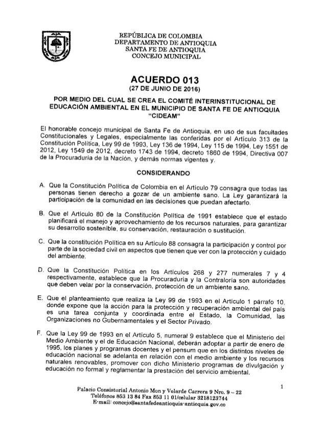 Acuerdo 013 de 2016