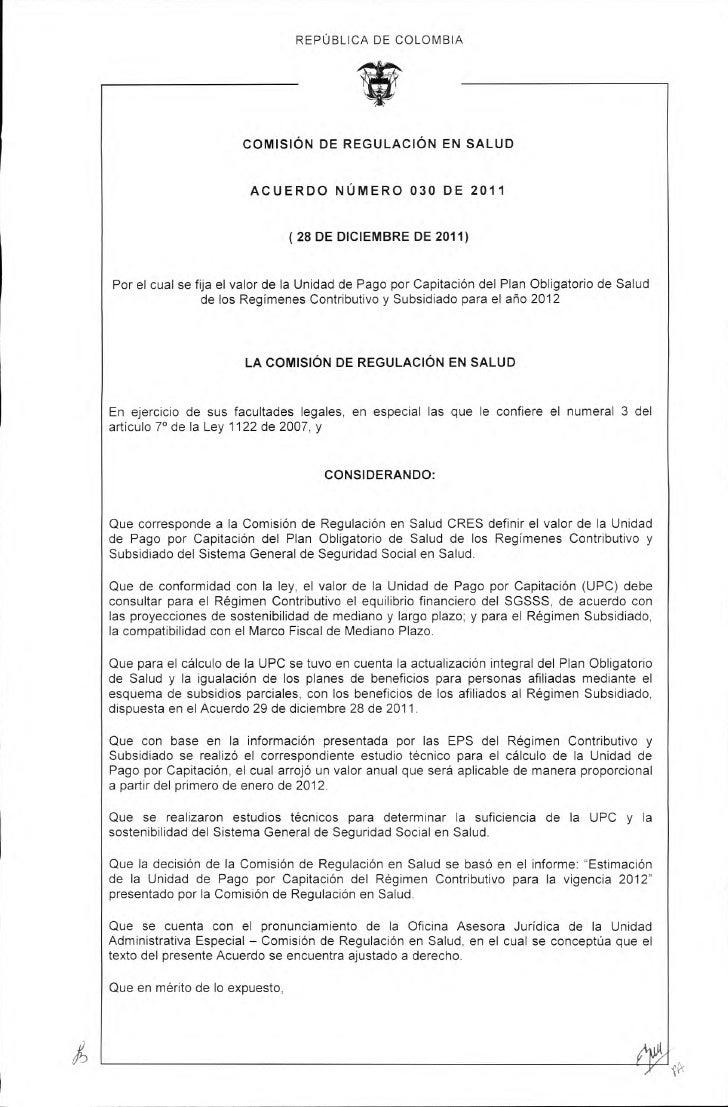 Acuerdo 030 de 2011 actualización upc