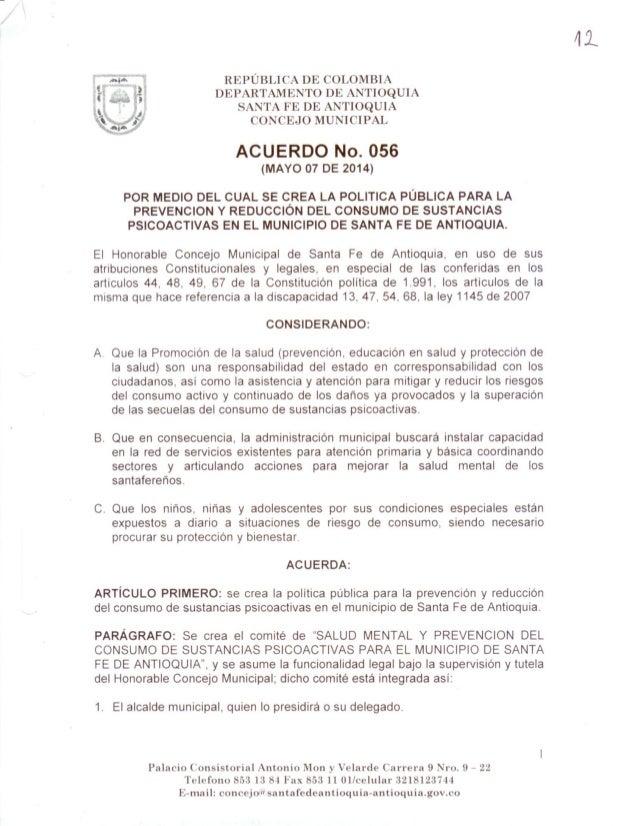 Acuerdo 056 sancionado