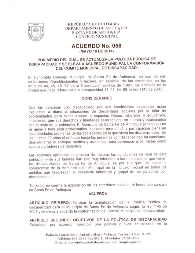 Acuerdo 058