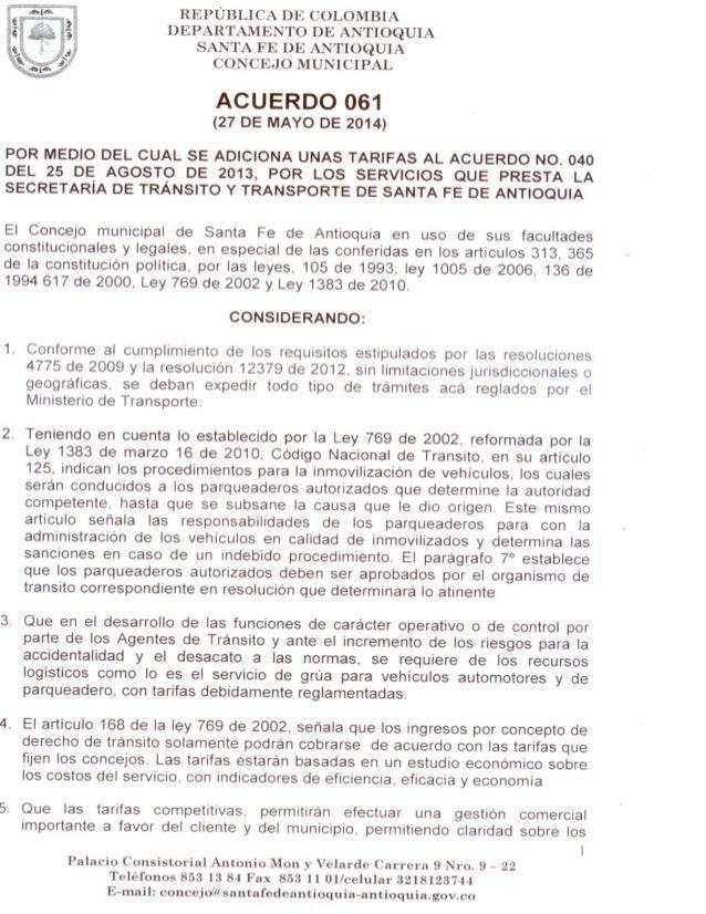 Acuerdo 061 sancionado