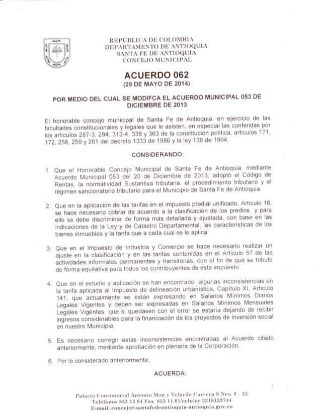 Acuerdo 062 sancionado