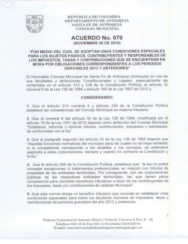 , w- REPUBLICA DE COLOMBIA  E:  3 DEPARTAMENTO DE ANTIOQUIA  SANTA FE DE ANTIOQUIA  i.   _:  CONCEJO MUNICIPAL  ACUERDO No...