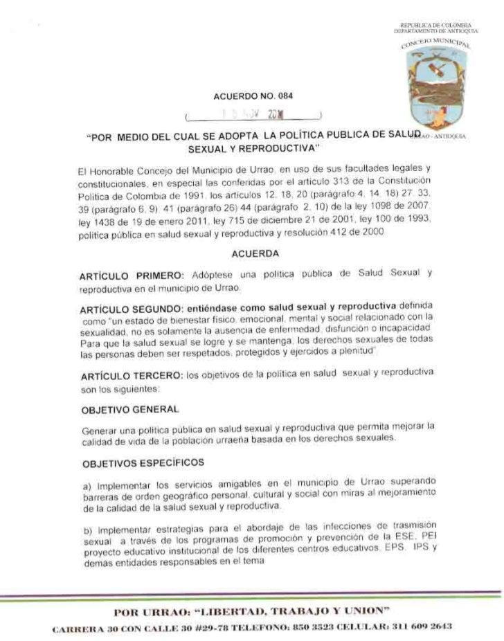 Acuerdo 084 2011 Adopta política pública en salud sexual y reproductiva