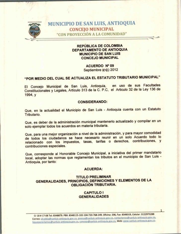 Acuerdo 09 de  2012   estatuto tributario