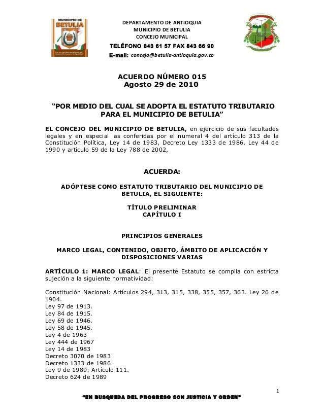 DEPARTAMENTO DE ANTIOQUIA                            MUNICIPIO DE BETULIA                             CONCEJO MUNICIPAL   ...