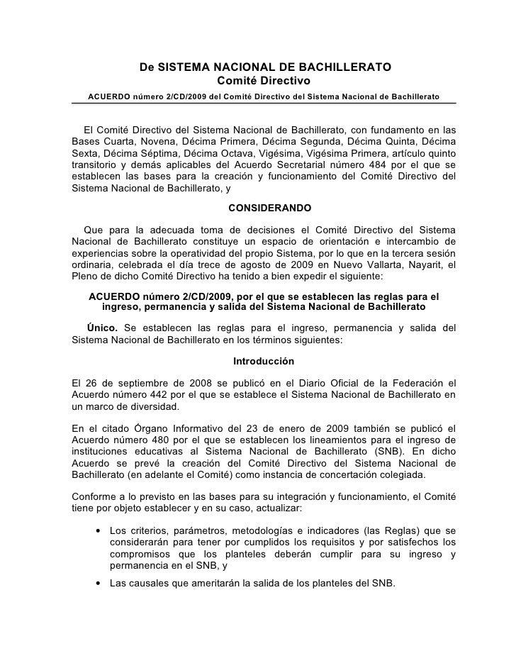 Acuerdo 2/CD/2009, por el que se establecen las reglas para el ingres…