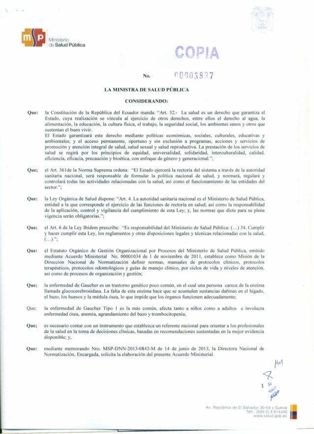 •Ministerio de Salud Pública No. LA MINlSTRA DE SALUD PÚBLICA CONSIDERANDO: Que: la Constitución de la República del Ecuad...
