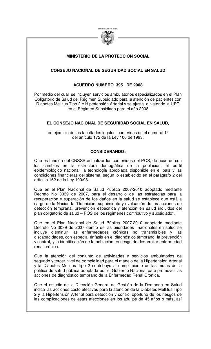 MINISTERIO DE LA PROTECCION SOCIAL         CONSEJO NACIONAL DE SEGURIDAD SOCIAL EN SALUD                     ACUERDO NÚMER...