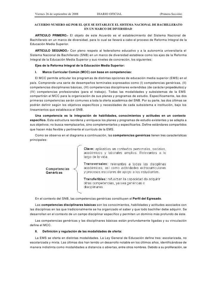 Viernes 26 de septiembre de 2008            DIARIO OFICIAL                              (Primera Sección)      ACUERDO NUM...