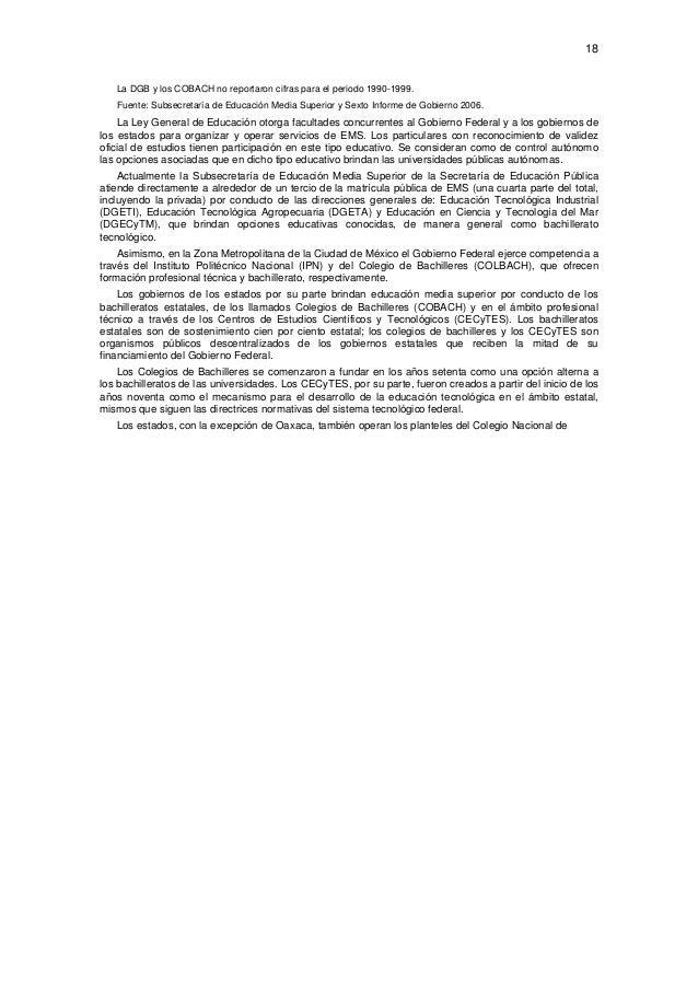 18  La DGB y los COBACH no reportaron cifras para el periodo 1990-1999. Fuente: Subsecretaría de Educación Media Superior...