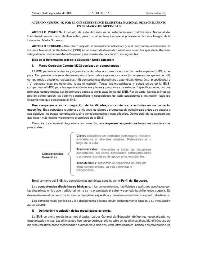 Viernes 26 de septiembre de 2008  DIARIO OFICIAL  (Primera Sección)  ACUERDO NUMERO 442 POR EL QUE SE ESTABLECE EL SISTEMA...