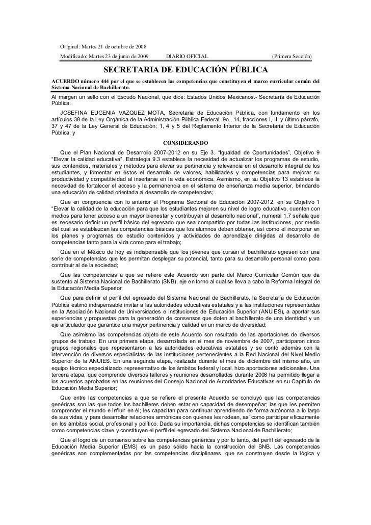 Original: Martes 21 de octubre de 2008   Modificado: Martes 23 de junio de 2009       DIARIO OFICIAL                      ...