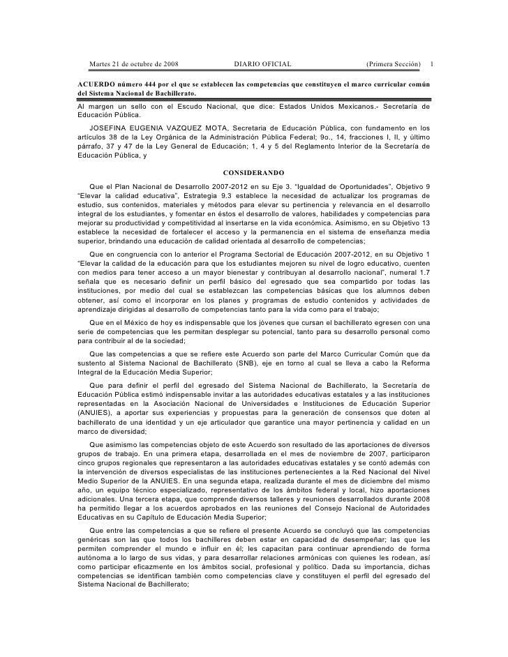 Martes 21 de octubre de 2008                DIARIO OFICIAL                          (Primera Sección)   1  ACUERDO número ...