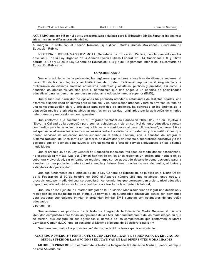 Martes 21 de octubre de 2008                DIARIO OFICIAL                           (Primera Sección)   1  ACUERDO número...