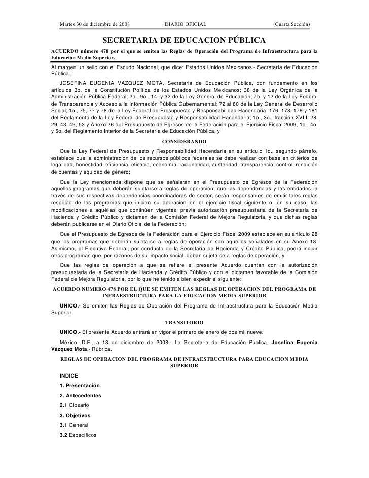 Martes 30 de diciembre de 2008               DIARIO OFICIAL                                 (Cuarta Sección)              ...