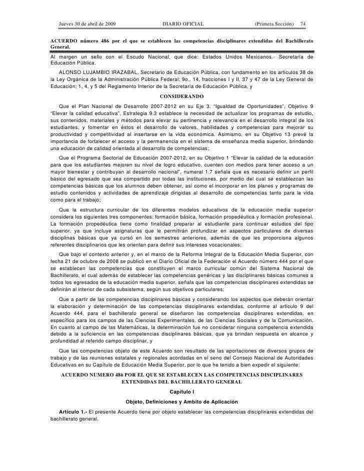 Jueves 30 de abril de 2009                 DIARIO OFICIAL                         (Primera Sección)   74   ACUERDO número ...