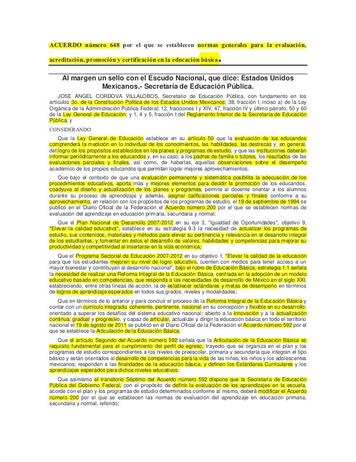 ACUERDO número 648 por el que se establecen normas generales para la evaluación,acreditación, promoción y certificación en...