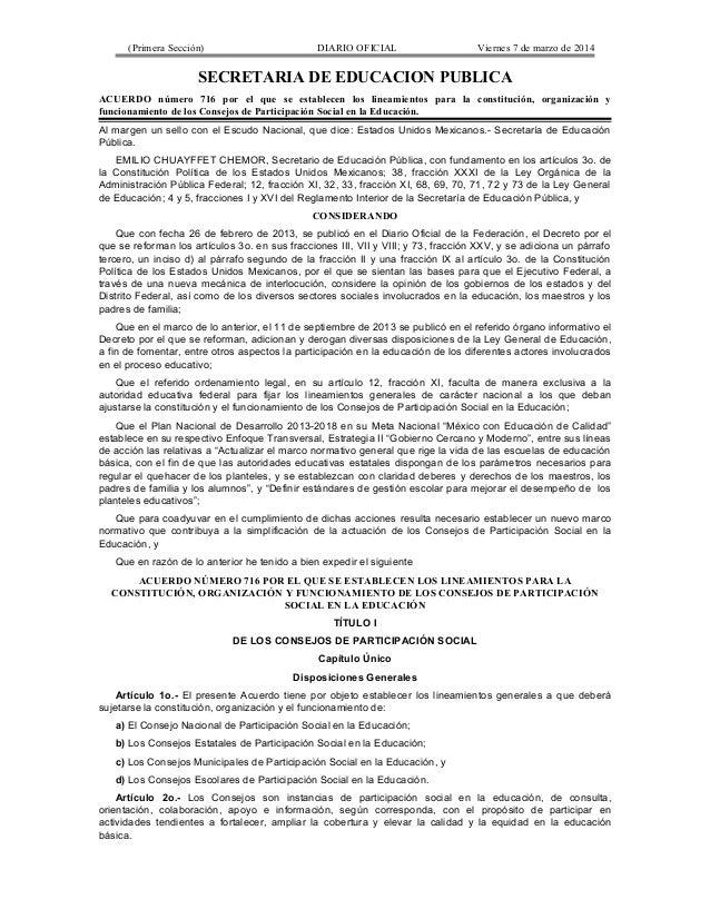 (Primera Sección) DIARIO OFICIAL Viernes 7 de marzo de 2014 SECRETARIA DE EDUCACION PUBLICA ACUERDO número 716 por el que ...