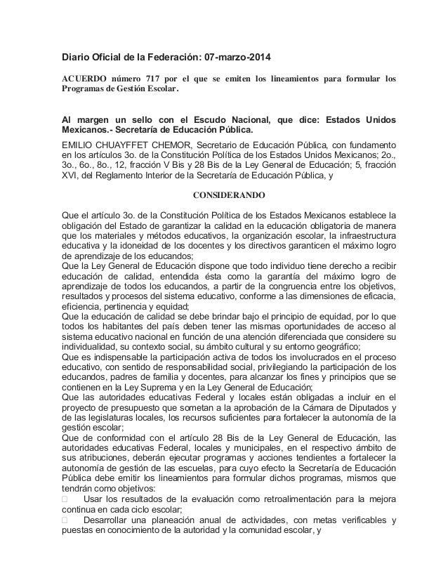 Diario Oficial de la Federación: 07-marzo-2014 ACUERDO número 717 por el que se emiten los lineamientos para formular los ...