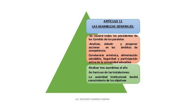 ARTÍCULO 11 LAS ASAMBLEAS GENERALES: -Se reunirá todos los presidentes de los Comités de los paralelos -Analizar, debatir ...
