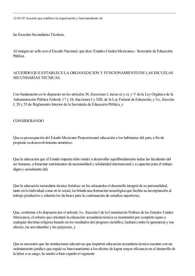 12-03-82 Acuerdo que establece la organización y funcionamiento de las Escuelas Secundarias Técnicas. Al margen un sello c...