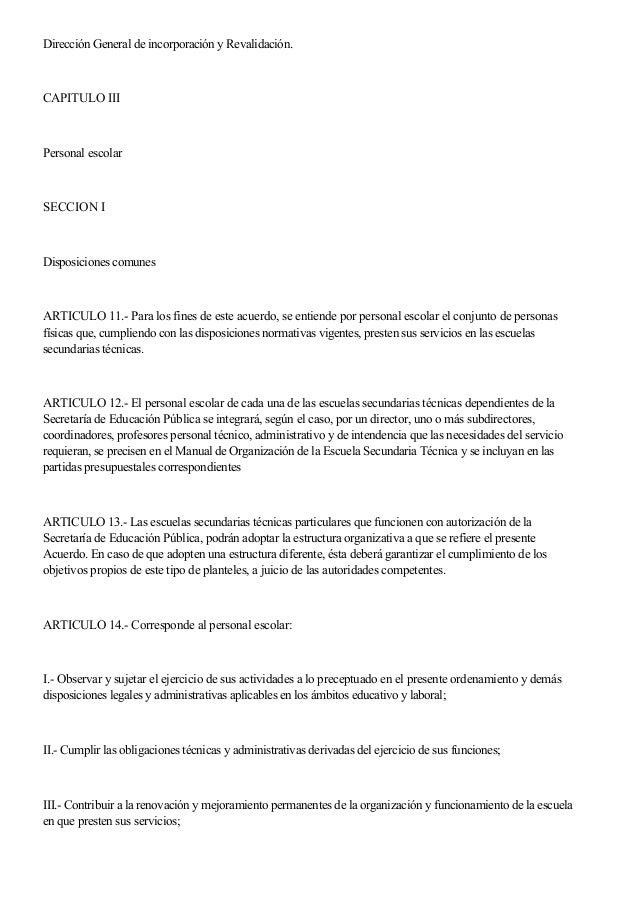 Dirección General de incorporación y Revalidación. CAPITULO III Personal escolar SECCION I Disposiciones comunes ARTICULO ...