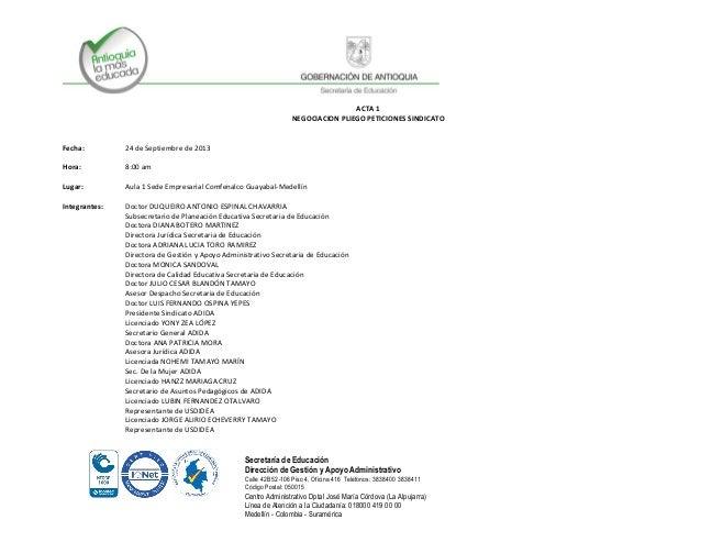 Secretaría de Educación Dirección de Gestión y Apoyo Administrativo Calle 42B 52-106 Piso 4, Oficina 416 Teléfonos: 383840...