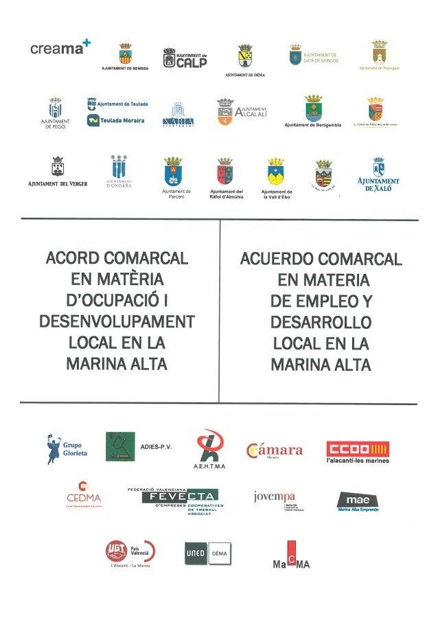 Acuerdo comarcal en materia de empleo Marina Alta