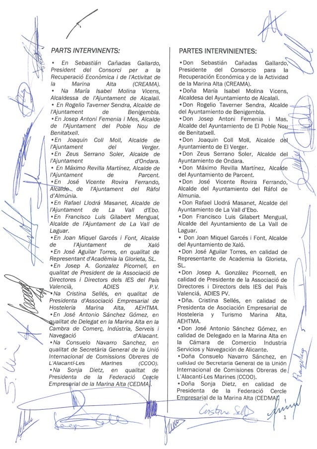 Acuerdo comarcal en materia de empleo Marina Alta Slide 2