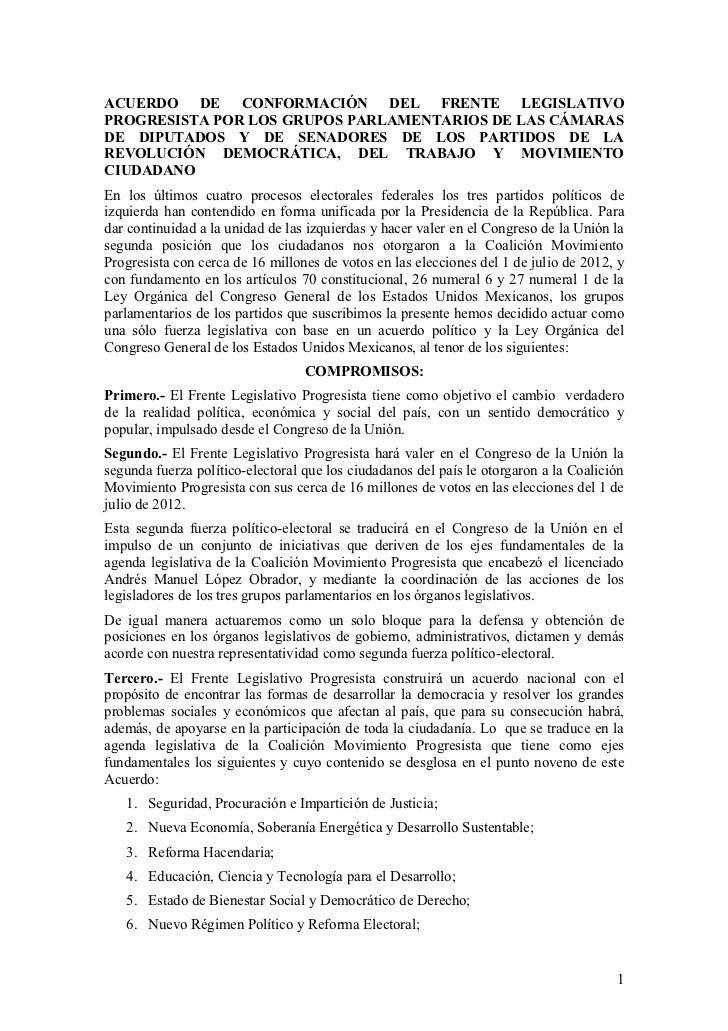 ACUERDO DE CONFORMACIÓN DEL FRENTE LEGISLATIVOPROGRESISTA POR LOS GRUPOS PARLAMENTARIOS DE LAS CÁMARASDE DIPUTADOS Y DE SE...