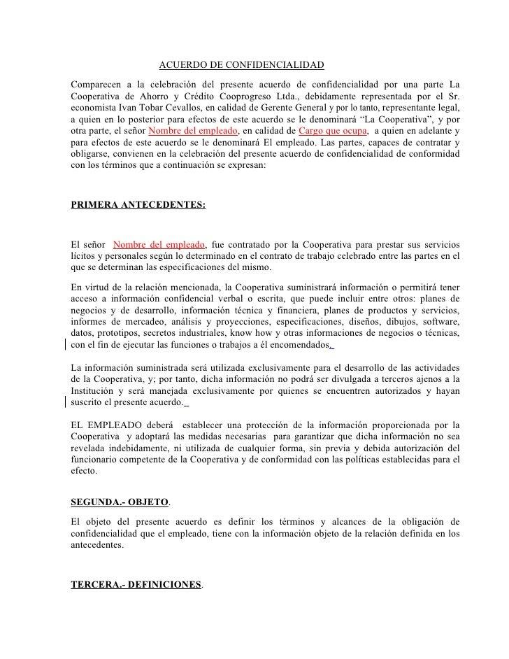 Acuerdo De Confidencialidad Empleados