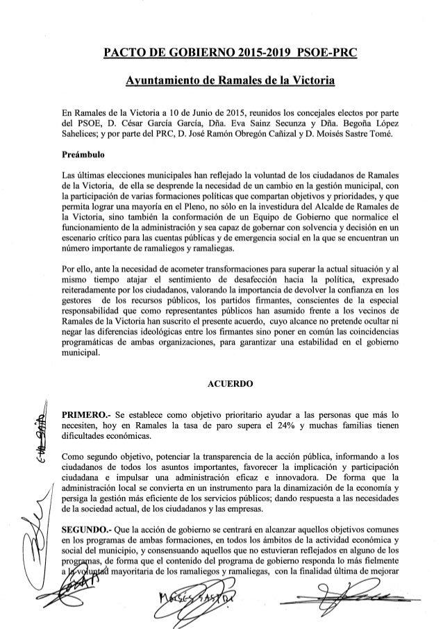 6'  PACTO DE GOBIERNO 2015-2019 PSOE-PRC  Ayuntamiento de Ramales de la Victoria  En Ramales de la Victoria a 10 de Junio ...