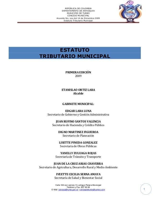 REPÚBLICA DE COLOMBIA                   DEPARTAMENTO DE ANTIOQUIA                       MUNICIPIO DE TURBO                ...